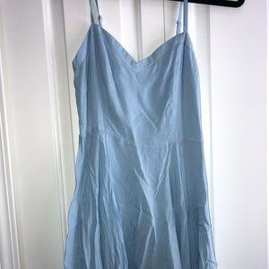 skinny strap flowy light blue dress